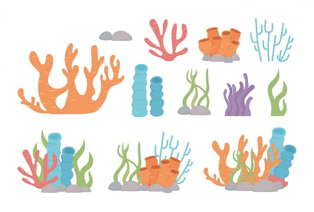 Desenhos animados de pedras de algas de recife de coral de vida no fundo do mar