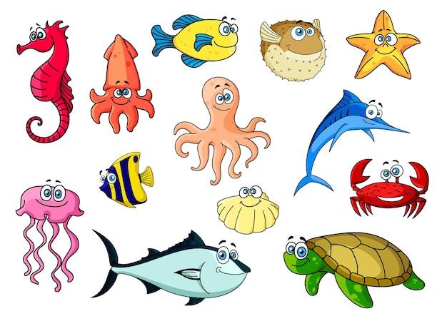 Desenhos animados de peixes tropicais coloridos