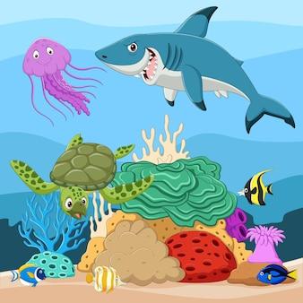 Desenhos animados de peixes tropicais e lindo mundo subaquático com corais