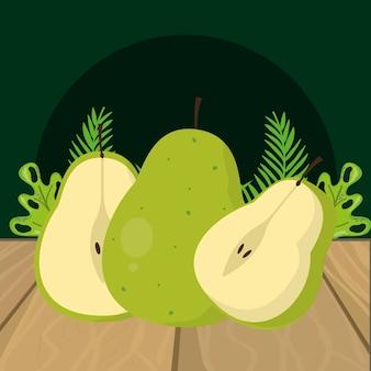 Desenhos animados de pêra verde frutas frescas