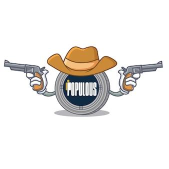 Desenhos animados de personagem de moeda populacional de cowboy