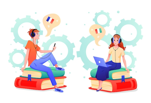 Desenhos animados de personagens adolescentes em fones de ouvido, aprendendo italiano e francês, isolado no branco
