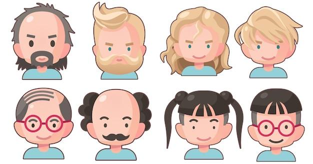 Desenhos animados de personagens de avatar