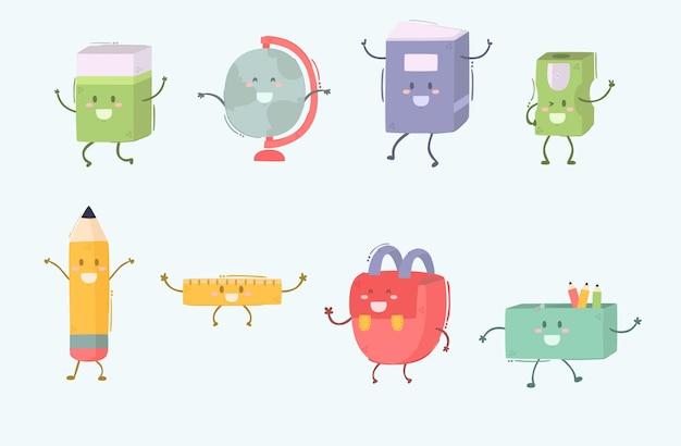 Desenhos animados de personagens de materiais escolares