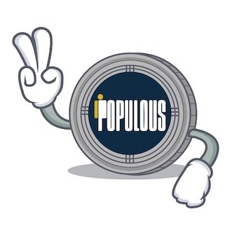 Desenhos animados de personagens de moedas populacionais de dois dedos