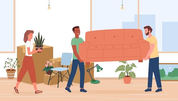 Desenhos animados de personagens jovens em vaso de flores segurando uma mobília de sofá e preparando pertences