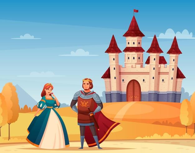 Desenhos animados de personagens medievais com ilustração do rei e da rainha do castelo,