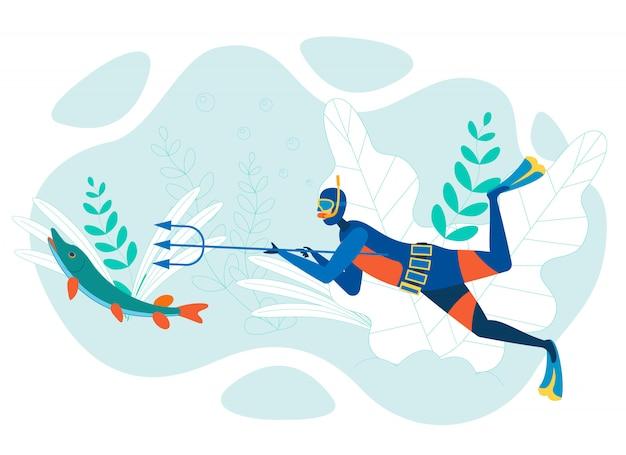 Desenhos animados de pesca subaquática