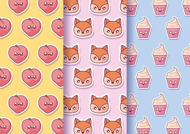 Desenhos animados de pêssegos esquilos e cupcakes kawaii