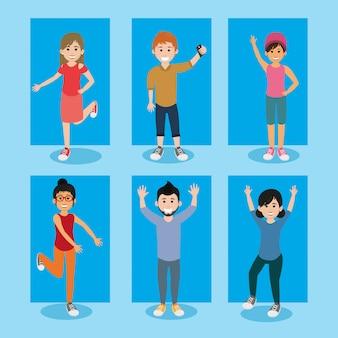 Desenhos animados de pessoas felizes de juventude de amigos