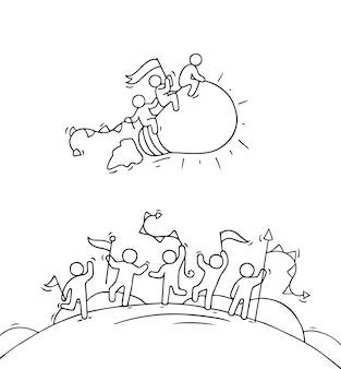 Desenhos animados de pessoas pequenas felizes com a ideia de lâmpada inicial.