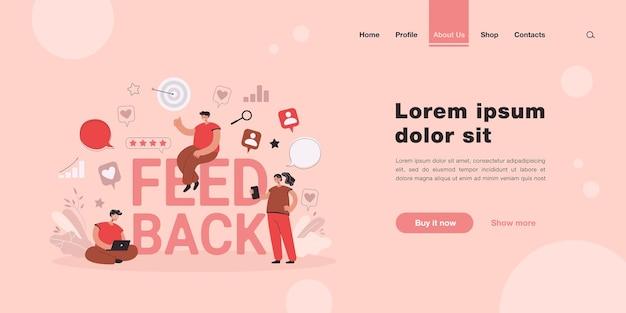 Desenhos animados de pessoas pequenas obtendo ou dando feedback na página de destino on-line em estilo simples