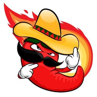 Desenhos animados de pimenta vermelha quente