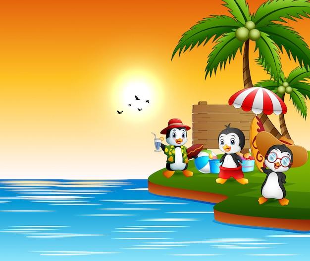 Desenhos animados de pinguins de férias à beira-mar