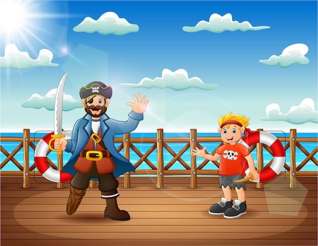 Desenhos animados de piratas no convés de um navio