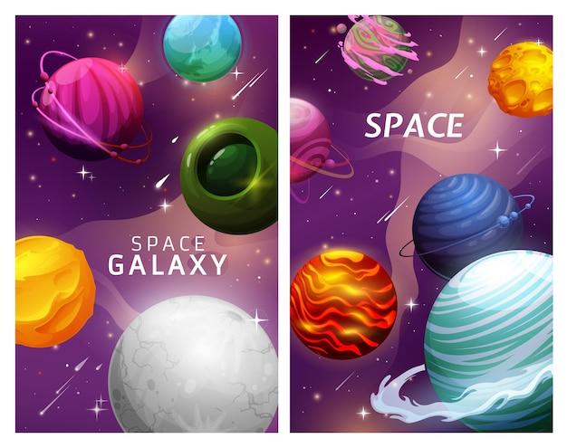 Desenhos animados de planetas espaciais e estrelas na paisagem da galáxia