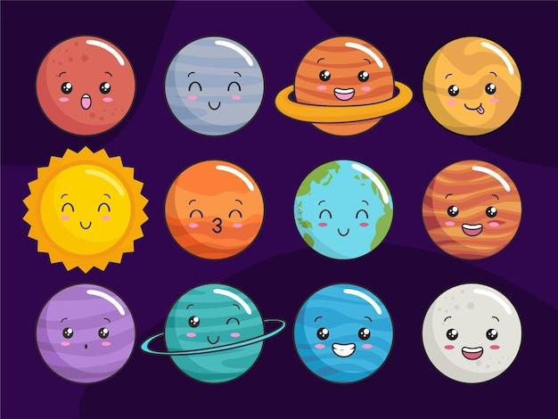Desenhos animados de planetas kawaii