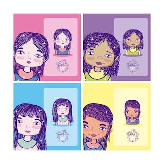 Desenhos animados de poder de menina