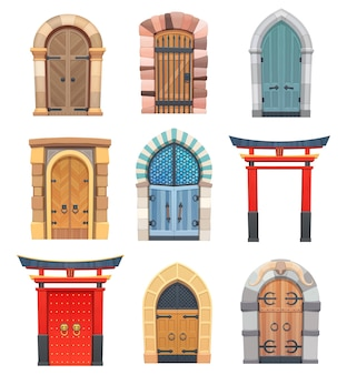 Desenhos animados de portões e portas de madeira e pedra medieval asiática