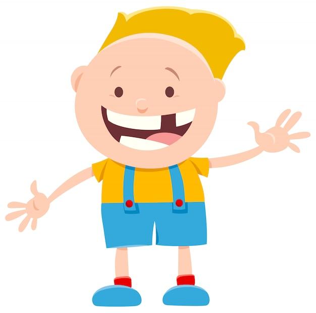 Desenhos animados de pré-escolar engraçado ou menino de idade elementar