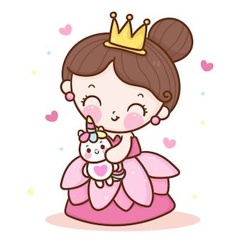 Desenhos animados de princesa fofa abraçando ilustração de unicórnio kawaii adorável