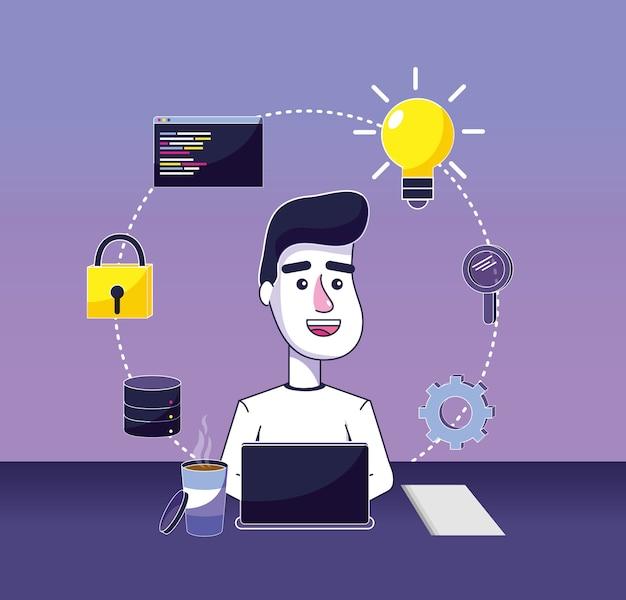 Desenhos animados de programador de software