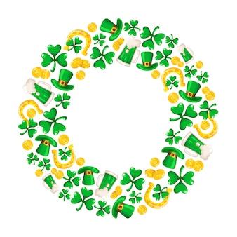 Desenhos animados de quadro saint patricks day redondo compositon com folhas de trevo ou trevo, moedas de ouro