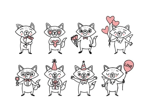 Desenhos animados de raposas fofas desenhadas à mão grande conjunto de animais engraçados personagens de desenhos animados com caixas de presente de balões em forma de coração