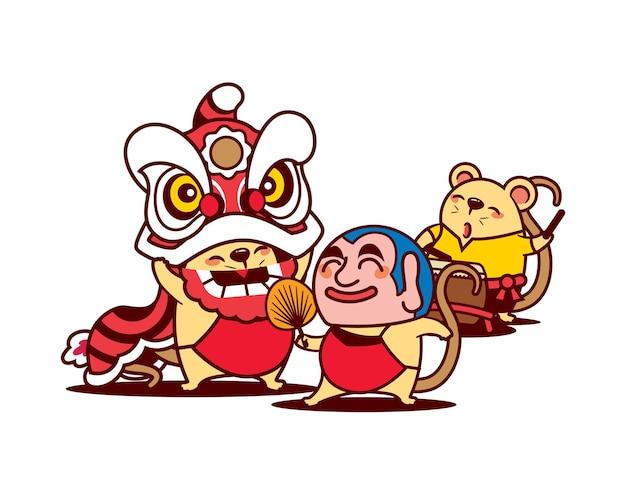 Desenhos animados de ratos fofos dançando a dança do leão no festival do ano novo chinês