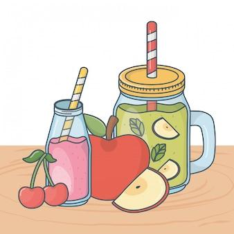 Desenhos animados de refeição saudável delicioso