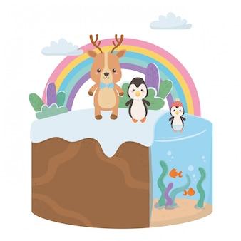Desenhos animados de rena e pinguim