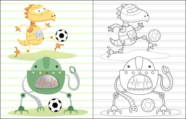 Desenhos animados de robôs jogando futebol