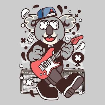 Desenhos animados de rockstar do koala
