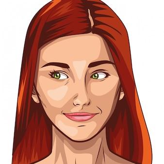 Desenhos animados de rosto de mulher bonita de arte pop