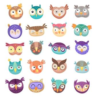 Desenhos animados de rostos de coruja e corujinha de lindas aves de rapina com penas coloridas e olhos grandes e engraçados