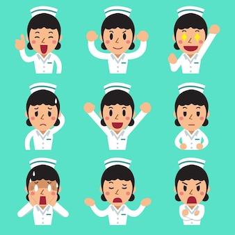 Desenhos animados de rostos de enfermeira mostrando emoções diferentes