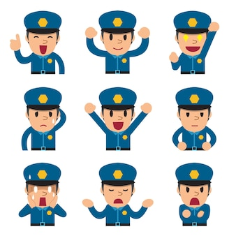 Desenhos animados de rostos de policiais mostrando emoções diferentes