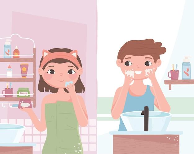 Desenhos animados de rotina de autocuidado de casal