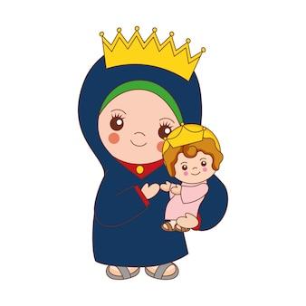 Desenhos animados de santa maria com o bebê jesus