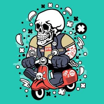 Desenhos animados de scooterist do crânio