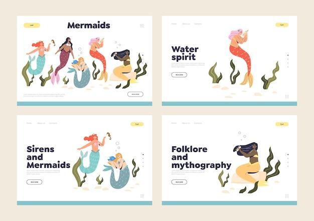 Desenhos animados de sereias, sereias e ninfas aquáticas