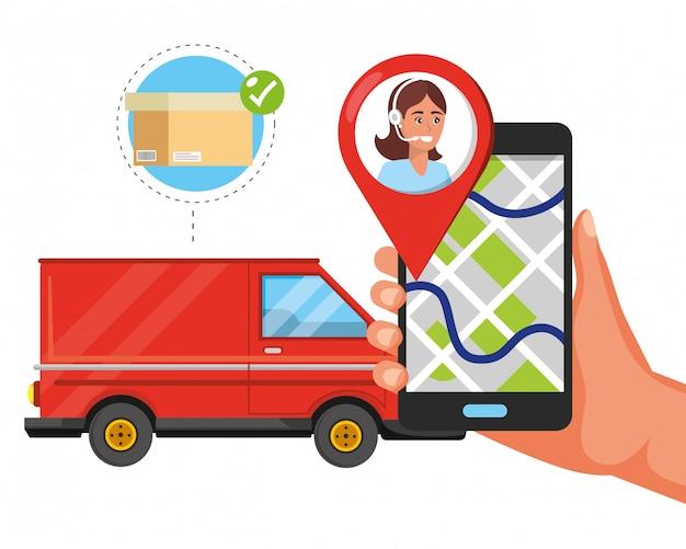 Desenhos animados de serviço de logística de suporte ao cliente