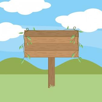 Desenhos animados de sinal de madeira