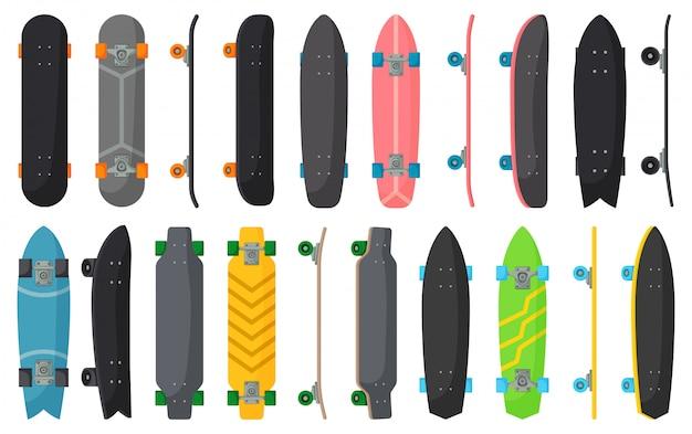 Desenhos animados de skate definir ícone. ilustração skate ilustração em fundo branco. desenhos animados definir ícone skate.