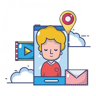 Desenhos animados de smartphone de tecnologia