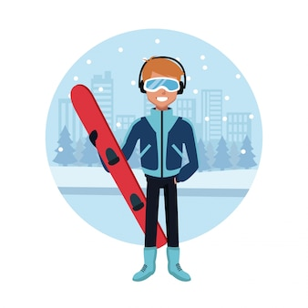 Desenhos animados de snowboard do homem