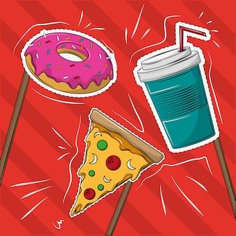 Desenhos animados de sobremesas cortam linhas