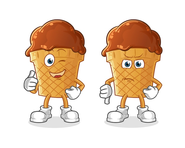 Desenhos animados de sorvete de chocolate polegares para cima e polegares para baixo.