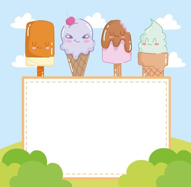 Desenhos animados de sorvetes e tabuleiro
