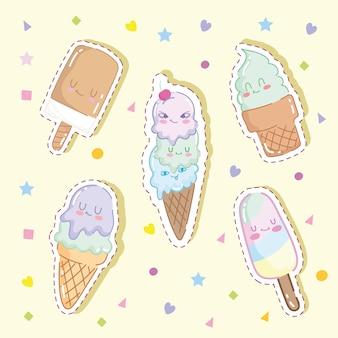 Desenhos animados de sorvetes fofos